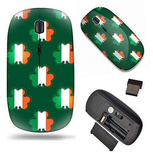 S-Type Optical 2.4G Wireless Mouse with Nano Receiver - Shamrocks Showing The Irish Flag Beneath