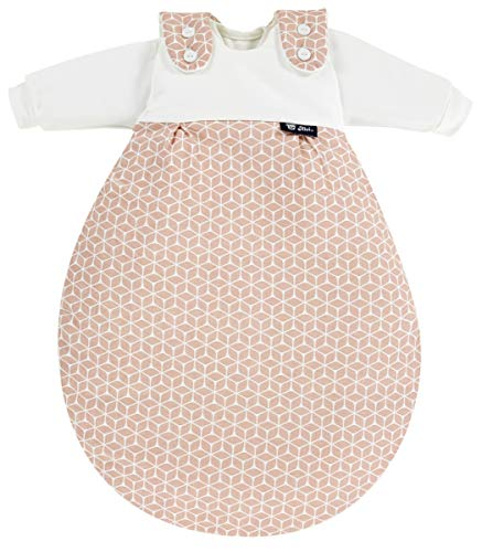Alvi Baby Mäxchen Original | Babyschlafsack 3-teilig | Alvi Außensack & zwei Innensäcke | Kinderschlafsack mitwachsend & atmungsaktiv, Größe:62/68, Design:Raute rosa dunkel