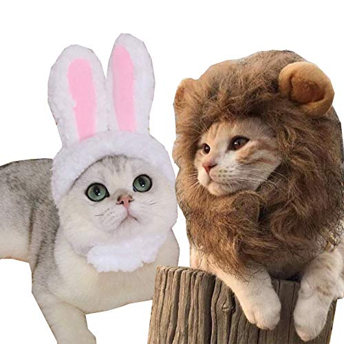 2 Pack Lion Mane Wig Costume for Cat Costume Bunny Rabbit Hat Headwear with Ears Cosplay Dress up Halloween Party Costume Accessories for Cats & Small Dogs (Lion/Rabbit)