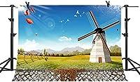 HD 10x7Ft風車写真背景村背景青空写真ビデオスタジオ小道具LXME378