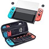 CamKix Juego de protección 4-en-1, compatible con Nintendo Switch: Caja de nylon duro con 20 insertos de tarjeta de juego, protector de pantalla de vidrio templado, 2x tapa de pulgar, paño de limpieza
