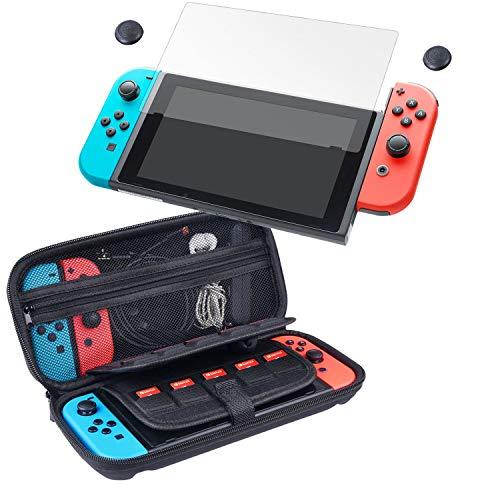 CAMKIX 4-in-1 Aufbewahrungs- und Schutzkit kompatibel mit Nintendo Switch: Hartschalen-Nylontasche mit 20 Einsätzen für Game Cards, gehärteter Glasdisplayschutz, 2X Daumengriff-Cover, Reinigungstuch
