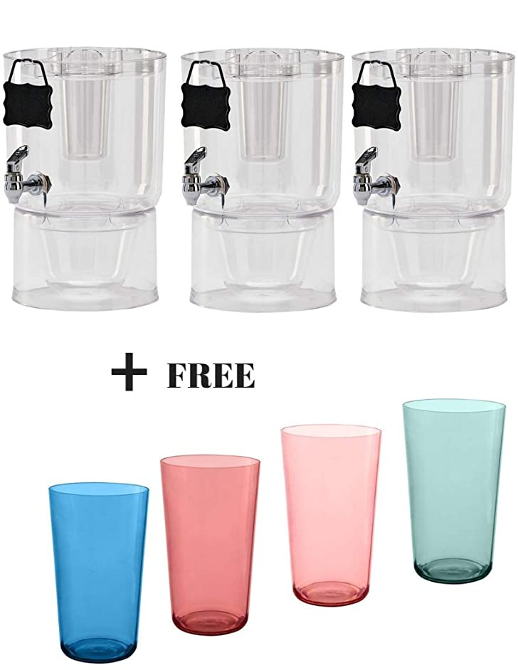 Buddeez Pary Top Beverage Dispensers, 1.75 Gallon (3-Counts + Freebies, Clear)