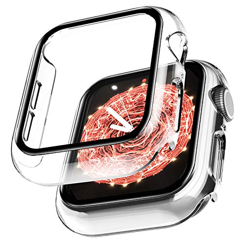 LϟK 2 Pack Funda Protector de Pantalla de Cristal Templado Incorporado para Apple Watch 44mm Series 6 5 4 SE - Estuche Protector General para PC Duro HD Ultra-Thin Carcasa para iWatch 44mm - Claro