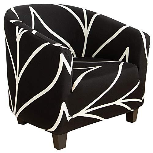 SearchI 1 Stück Wannensesselbezug für Sessel, Stretch-Druck, weicher Stoff, abnehmbar, waschbar, Sofa-Bezug für Bar, Theke, Wohnzimmer, Empfang, schwarz