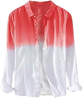 Fartido Mens Summer T-Shirts,Men's Fashion Printed Shirts,Lapels Gradient Long Sleeves Blouse Tops