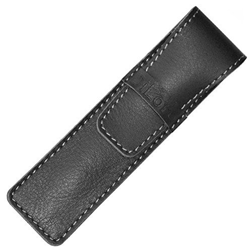 DiLoro Full Grain Top Quality Thick Buffalo Italian Leather Single Pen Case Holder Pouch Black