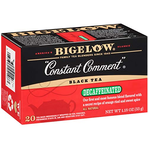 Bigelow Decaffeinated Constant Comment Black Tea Bags, 20 Count Box (Pack of 6) Decaf Black Tea, 120 Tea Bags Total
