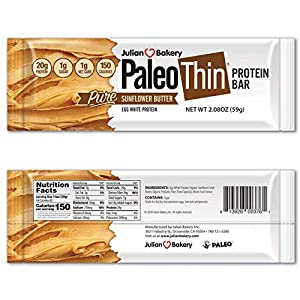 Paleo Protein Bar? (Organic SunButter) 12 Bars (150 Cal, 20g Egg White Protein 5 Net Carbs)