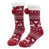 MaaMgic Damen Kuschelsocken Warme Wintersocken Cute Cartoon Muster Weihnachten Hausschuhsocken Anti Rutsch Noppen Socken MEHRWEG Rot Rentier