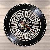 JAXU CWN 'ART Reloj de Pared con Rueda de Rendimiento, Reloj de Rueda de Coche Antiguo, Servicio de Coches, Ventas, reparación de Garaje, Letrero de Vinilo, Reloj de Pared Decorativo