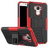 Smfu Funda Compatible ASUS Zenfone 3 MAX ZC553KL 5.5 Carcasa Rugged Híbrido Resistente Absorción Anti-arañazos Funda Absorción Impactos con Pie De Apoyo Caja [con Mica 2Unidades]-Rojo