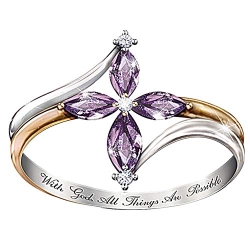 TbpersicwT With God All Things Are Possible Lady Dual Color Faux Amethyst Cross Floral Ring Unique Temperament Ring (US 9)