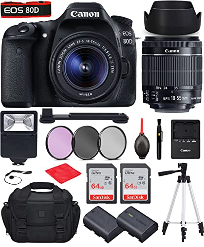Canon EOS 80D DSLR Camera with Canon EF-S 18-55mm f 3.5-5.6 is STM Lens Bundle, Starter Kit with Accessories (Gadget Bag, Extra Battery, Digital Slave Flash, 128Gb Memory, 50  Tripod and More)