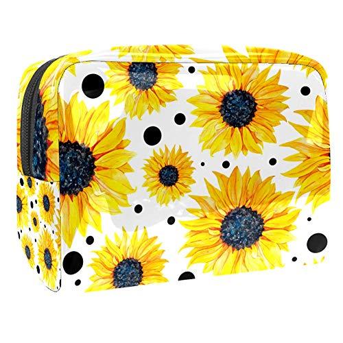 Trousse de maquillage multifonction pour les cosmétiques de voyage - Sac de rangement pour les femmes aquarelle aux yeux noirs - Susan fleurs à pois