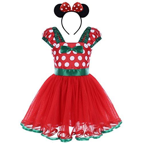 IWEMEK Nouveau-né Enfants Bébés Filles Tutu Robe à Pois de Noël avec Minnie Beandeau Costume Tenues de Photographie Carnaval Justaucorps Danse Princesse Bowknot Robes pour bébé Rouge 3 Ans