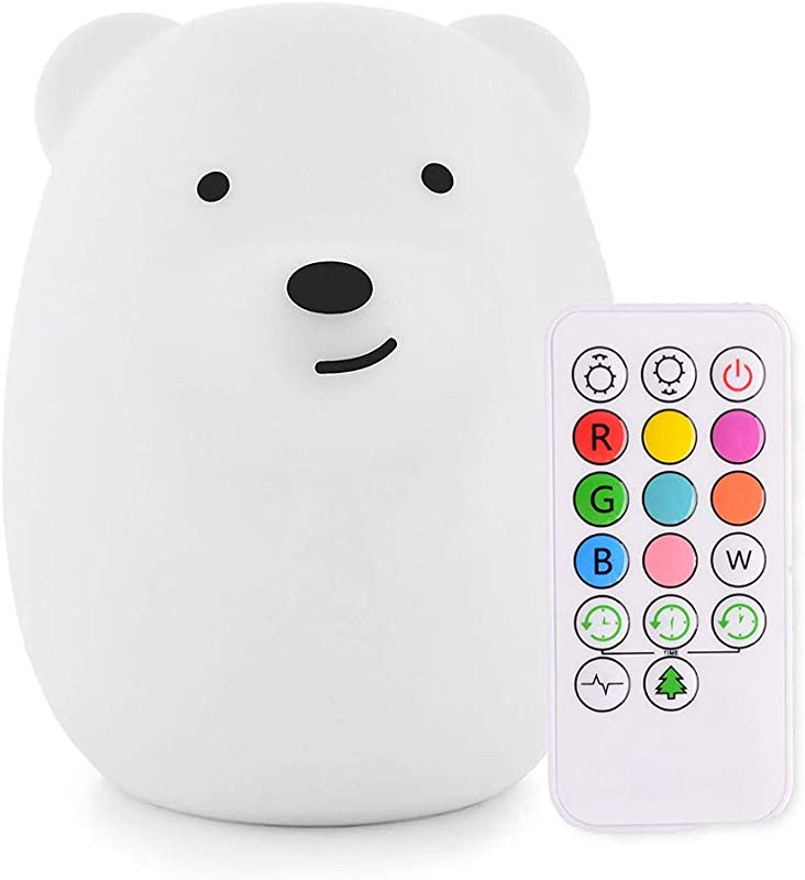 Cute Bear Nursery Night Light For Kids IWheat Soft Silicone Tap Remote Control Night Light LED Multicolor Night Light Portable USB Rechargeable Best For Baby Children