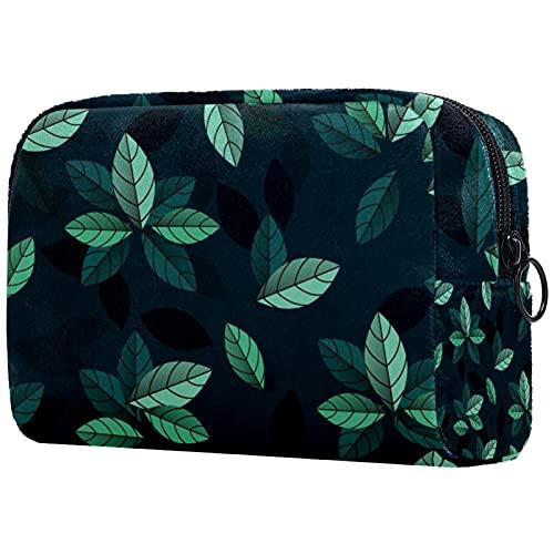 Bolsa de almacenamiento portátil Bolsa de cosméticos Bolsa de maquillaje compacta para mujeres Niñas Cuero PU Cremallera Accesorios Organizador Hojas Verde