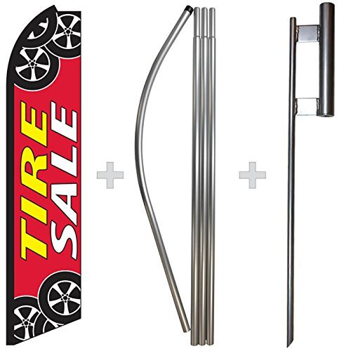 Tire Sale Swooper Feather Flag, Flagpole, & Ground Spike Kit