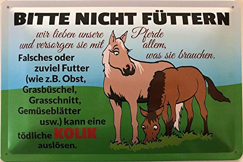 Deko7 blikken bord 30 x 20 cm Paarden Gelieve niet voeders - kan een dodelijke koliek veroorzaken