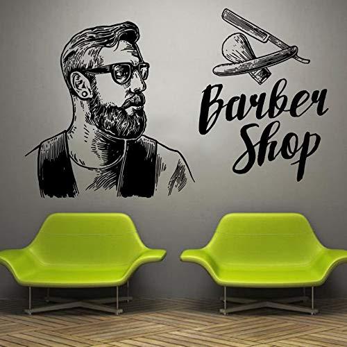 Muursticker Raam Sticker Schoonheid Salon Gezicht Kapsel Stijl Haar Man Baard Barbershop t161