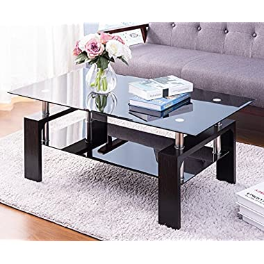 Merax Distinctive Design Coffee Tea Table with 2-tiers Glass Top and Black Wooden Legs