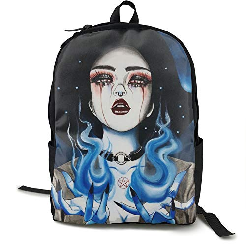 Ice Fire Goth Gotik Gothic Women Girl Art Backpack Fun Basic Sackpack For Unisex Large Capacity Fits15.6 Inch Computer Laptop Bag Or Book Clothes