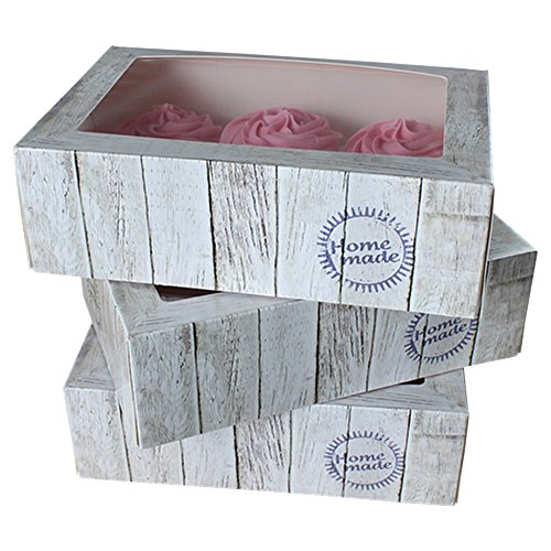 FunCakes - Juego de 3 Cajas para Cupcakes de Madera, 24 x 16 x 8 cm, con Inserto