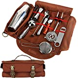 Bartender Kit Bag Pack of 12 – Portable Bar Tool Roll Bag, Perfect for traveling and Party Event – GJB01 (Bag+Tools)