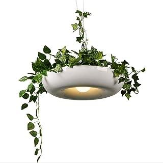 Raelf Nordic Aerial Flower Pot Chandelier Aluminum E27 / E26 Creative Personality Bar Plant Potted Babylon Restaurant Cafe Chandelier Ceiling Lamp Edison 1 5W (color: Black, White, Green)