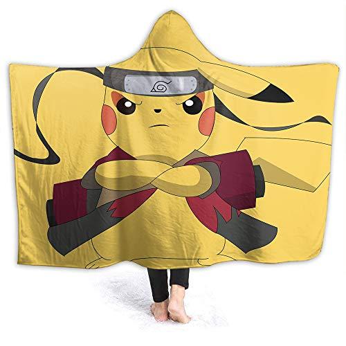 QIAOQIAOLO Pikachu Manta decorativa con capucha Poke-mon Microfelush, Funcional para niños de 150 x 100 cm