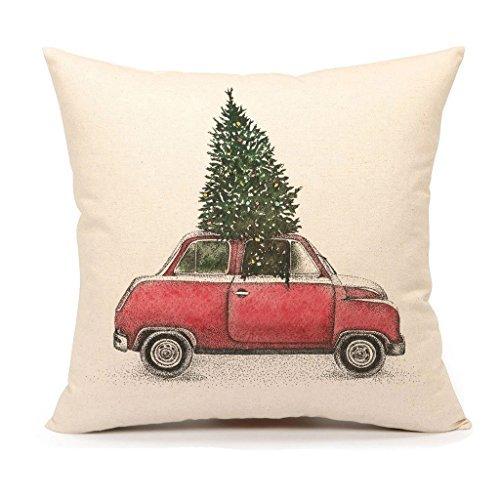 Albero di Natale e rosso auto tiro federa copertura decorativa cuscino di 45,7x 45,7cm in cotone e lino per divano (vintage)