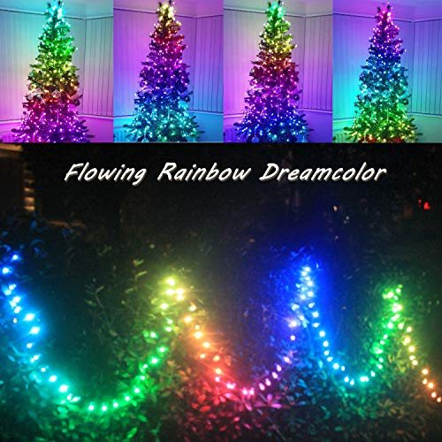 Outdoor String Lights Waterproof Color Changing Dream Rainbow Lights Colored Decorative Twinkly Light with APP for Christmas Patio Porch Backyard Garden Xmas Decor (50LED)