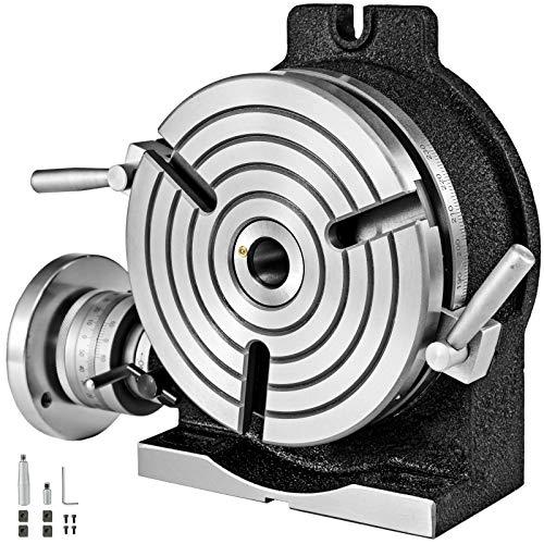 VEVOR Mesa de Trabajo Rotativa Horizontal y Vertical, 200 mm Mesa Giratoria para Fresadoras con 3 Ranuras, 105 y 40 mm Fresadora de Mesa de Trabajo Rotativa para Perforar, Fresar o Cortar en Taller