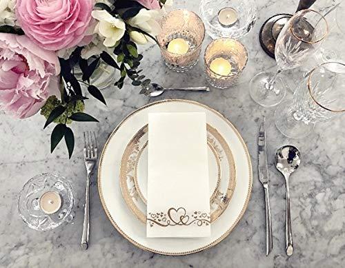 Elegant Decorative Gold Linen-Feel Guest Hand Napkins Towels   Gold Heart Design  Disposable Soft...