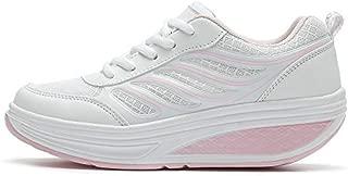 SAGUARO Platform Toning Rocker Shoes Womens Tennis Sneakers Wedges Thick Sole for Walking