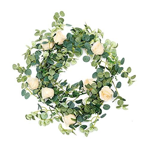 Decoración de boda Decoración de la pared de la boda Artificial Ratán 7 cabezas Rose Seda Eucalipto Hojas Planta Vegetal Flor Guirnalda Eucalyptus Ratán Decoración ( Color : Champagne , Size : 1.8 M )
