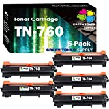 (5 Black, Value Pack) Compatible Toner Cartridge TN760 Used in Brother TN-760, for Mono Printer HL-L2350DW HL-L2370D MFC-L2710DW DCP-L2550DW, Sold by Green Toner Supply