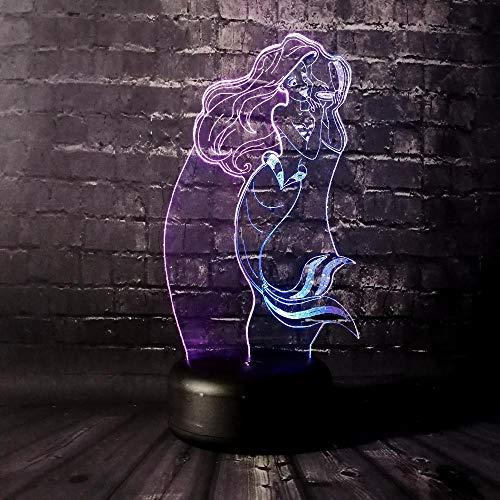 KINGBENG Lampe de nuit pour enfants bébé fille princesse Anna sirène lampe de sommeil garçon cadeau dessin animé enfant jouet lampe 16 couleurs Veilleuse Illusion Nuit Lumière Bureau Table Lampe 16 Co