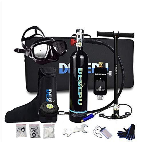 WOTR Scuba Diving Tank, 1L Tauchende Sauerstoffflasche mit 15-20 Minuten Kapazität, Mini Tauchflasche mit Hochdruck Luftpumpe, nachfüllbarem Design, für Reisen und Tauchen,Schwarz