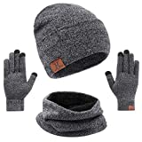 mysuntown Hat Scarf and Glove Set, Women Winter Hats 3-Piece, Beanie Neck Warmer and Touchscreen Gloves for Men (Grey)