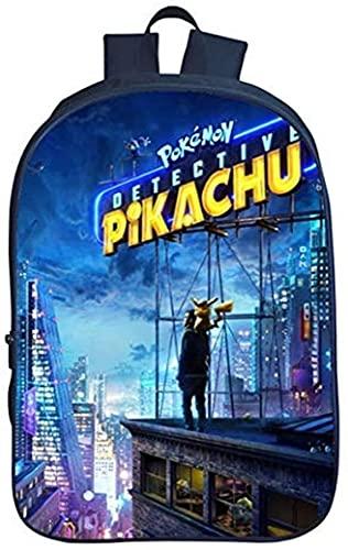 Mochila escolar Pikachu para niños, diseño de dibujos animados Anime, alta calidad, regalo ligero y a juego (Pikachu4,16 pulgadas (escuela primaria) 27)