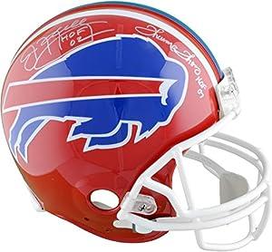 "Jim Kelly & Thurman Thomas Buffalo Bills Dual Signed Riddell Throwback Helmet with""HOF"" Inscriptions - Fanatics Authentic Certified"