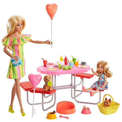 Barbie GNC61 Barbie Puppy Picnic Playset, Gift Set with 2 Dolls and Puppies, for Children from 3 to 7 Years