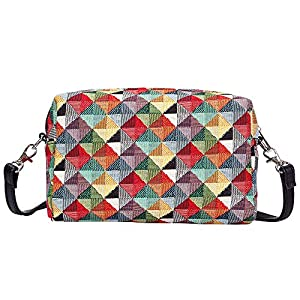 Signare Tapestry Small Crossbody Bag for Women pouch Bag with Fashion Pattern Design (Colourful Geometric, HPBG-MTRI)