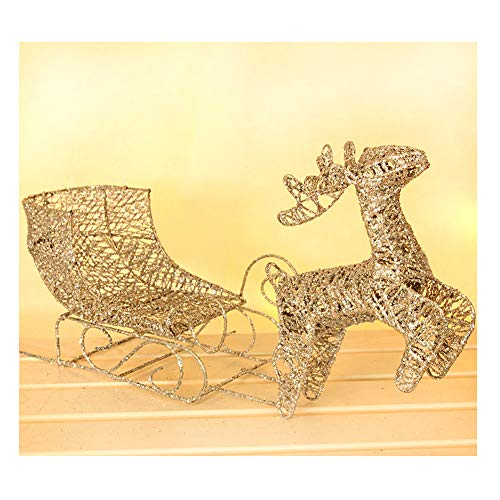 Navidad Reno con Trineo Luminoso LED Resplandecer Blanco Cálido Metal 40x12x24cm Light Decoration para Interiores...