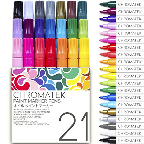 Paint Pens for Rock Painting, Stone, Ceramic, Glass, Wood. 21 Pens by Chromatek. Multi-Surface. Medium Tip. Waterproof. Quick Drying. Never Fade. Online Video Tutorials, Ebook With Dozens of Ideas and Lessons. Oil Based.