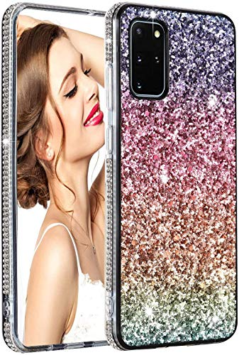 Case for Galaxy A51 Girl Women Rainbow Glitter Case Bling Protective Sparkle Shiny Durable Shockproof Rhinestone Drop Protection Cover for Samsung Galaxy A51 - Gradual Pink