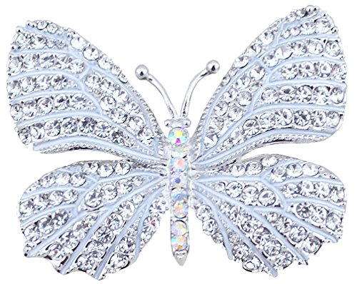FENGJI Full Rhinestone Butterfly Retro Brooch Pin Lovely Wedding Pin for Women Color 1