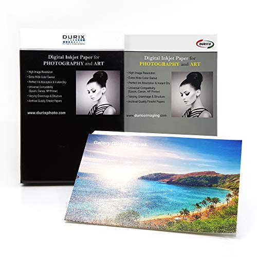 DURIX Gallery Gloss Canvas 340GSM Cotton Surface Fineart Digital Inkjet Photo Paper (8.5' x 11', 20 sheets)